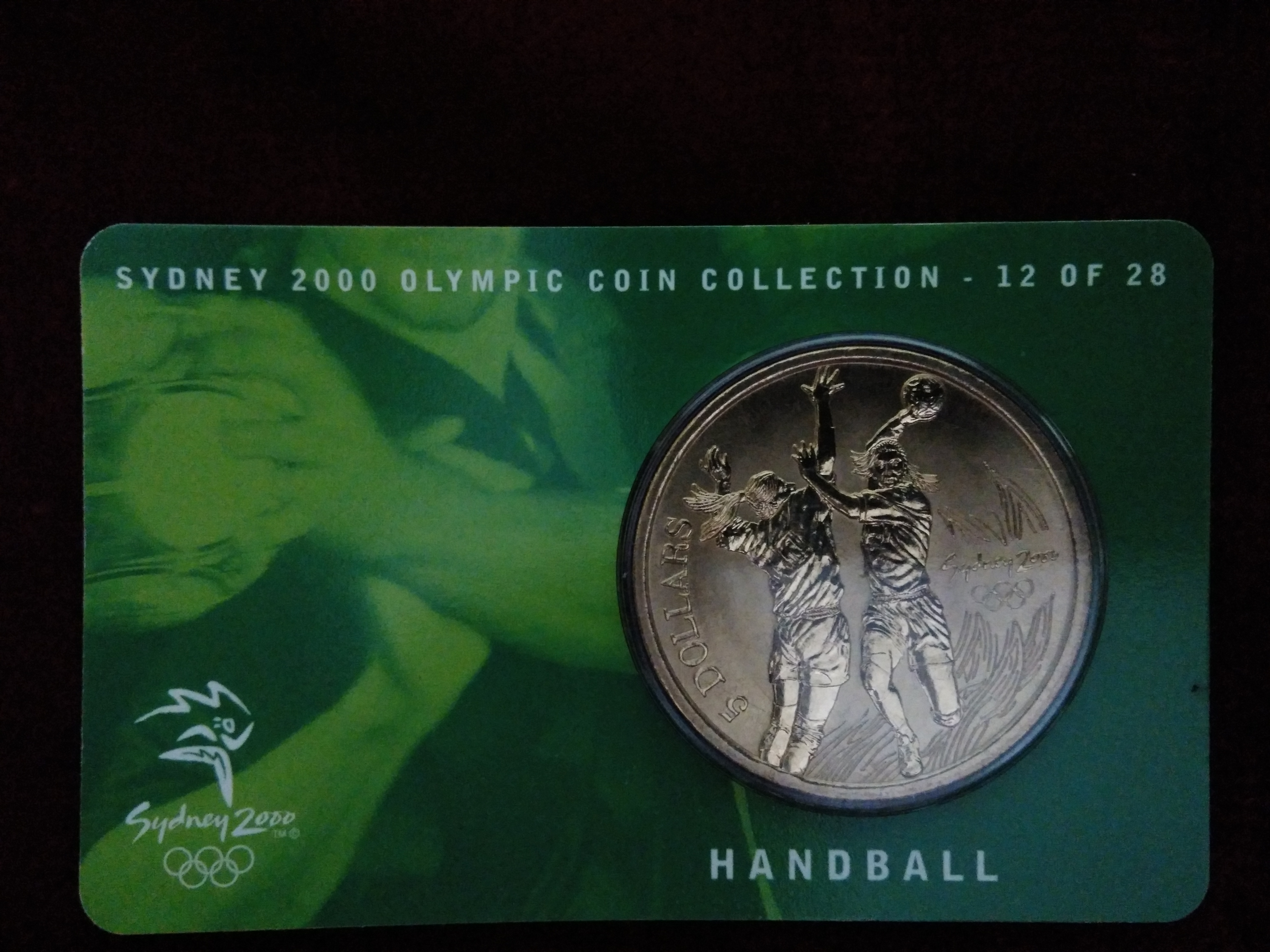 2000 $5 RAM UNC Coin Sydney Olympic coin collection cover Handball 12 of 28