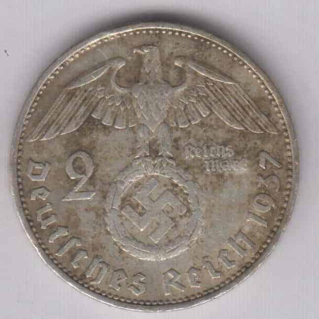 2 Mark Nazi Silver WW2 Third Reich Coin