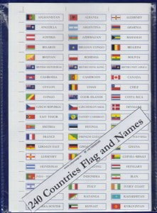 240 Countries Flag and Names Stickers