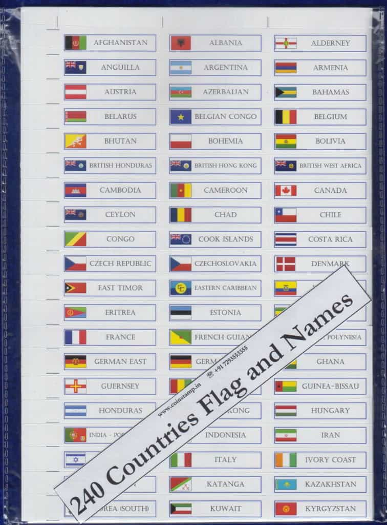 240 Countries Flag and Names Stickers - www.coinstamp.in