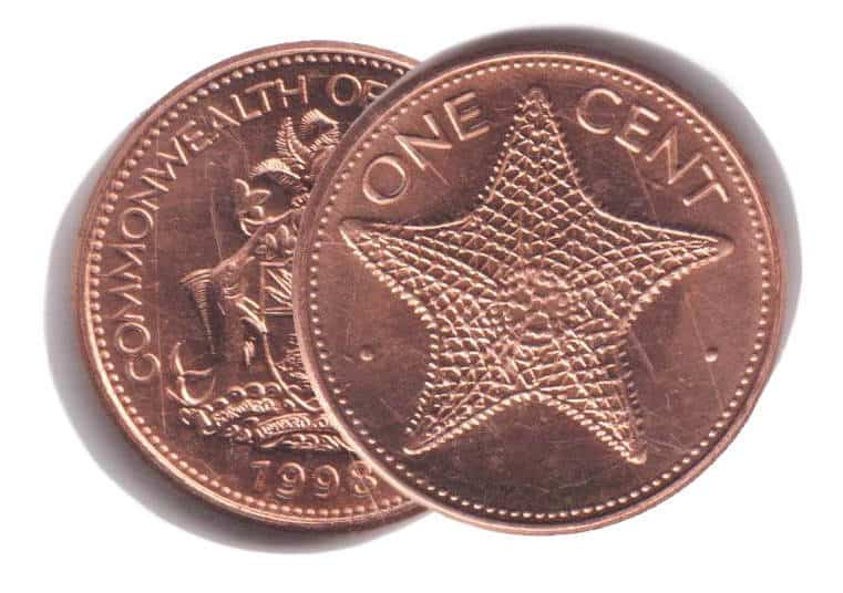 Bahamas 2006-1 Cent Copper Plated Zinc Coin Starfish