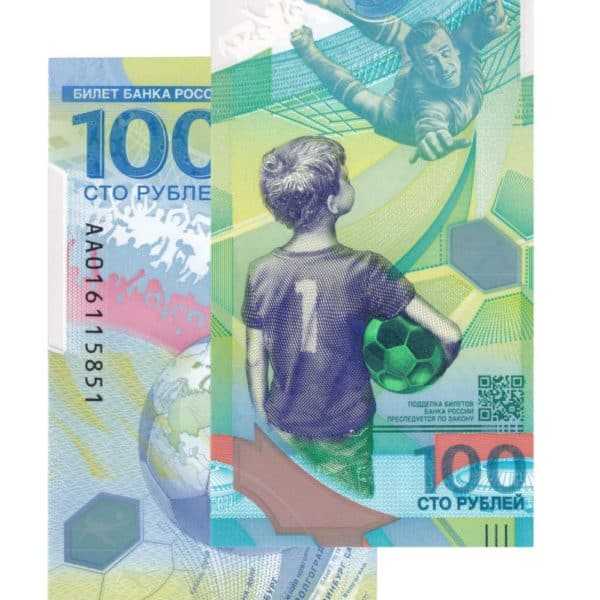 Russia World Cup Football 2018 100 Ruble The Russian Currency under Asian Currencies and European Currencies which is also under World Currencies Category.  The Currency is issued in commemoration of 2018 Football world cuo.  Country: Russia Republic  Denomination:  100 Rubles  In commemoration of 2018 Football World cup. Polymer Currency