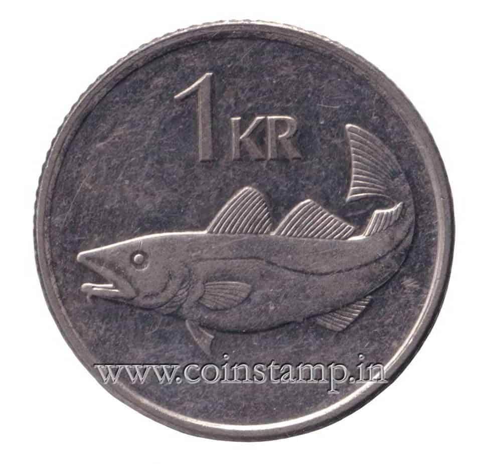 animal wildlife coin Giant Cod fish Iceland 1 kronur
