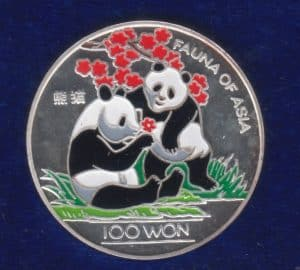 Korea North 100 Won Two Pandas in Colour 1997