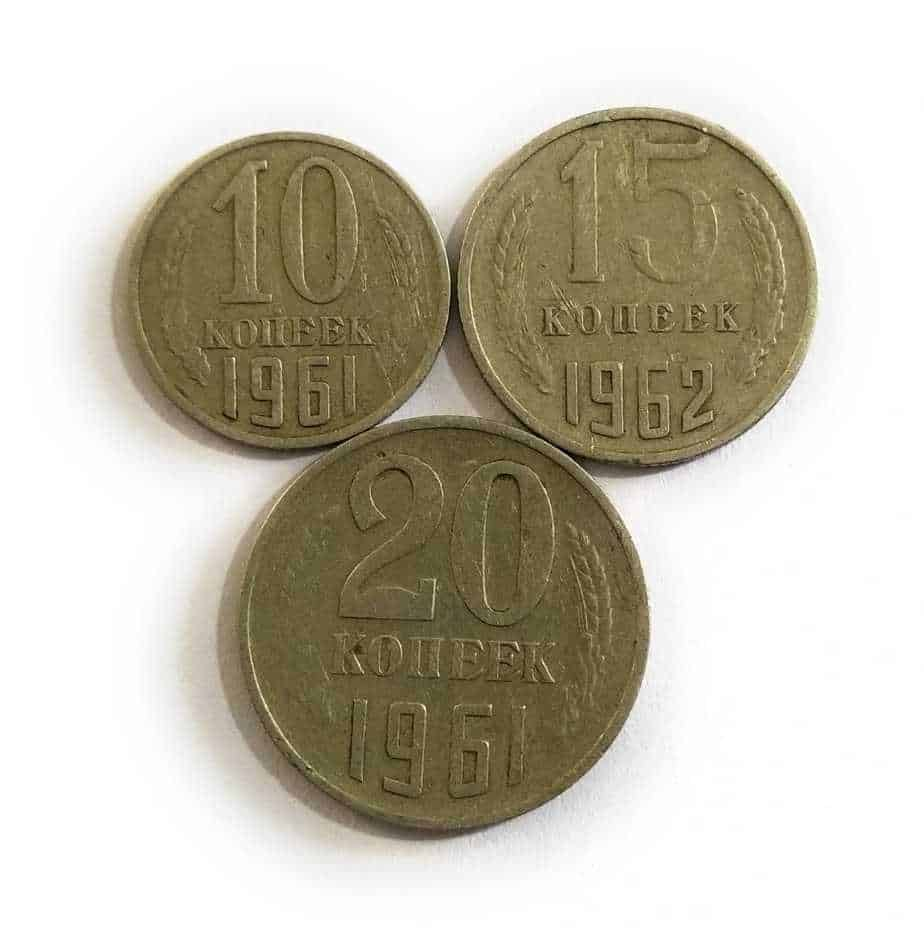 Russia Soviet Union CCCP USSR 10 Kopecks 15 Kopecks 20 Kopecks