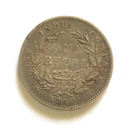 East India Company 1840 Silver Rupee Queen Victoria Divided Legend Coins