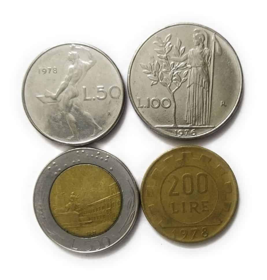 Italy Pre Euro Set of 4 coins 50 Lire 100 Lire 200 Lire 500 Lire